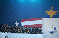 Team USA wives and girlfriends during the Ryder Cup Opening Ceremony at Le Golf National, Saint-Quentin-en-Yvelines, Paris.