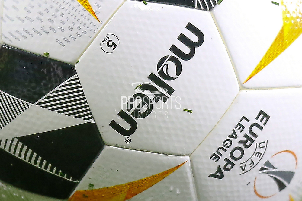 Close up of the Europa League match ball during the Europa League match between Arsenal and Eintracht Frankfurt at the Emirates Stadium, London, England on 28 November 2019.