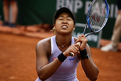 May 30, 2019 - Paris, France - Japan's Naomi Osaka reacts against Belarus' Victoria Azarenka during their women's singles second round match on day five of The Roland Garros 2019 French Open tennis tournament in Paris on May 30, 2019. (Credit Image: © Ibrahim Ezzat/NurPhoto via ZUMA Press)