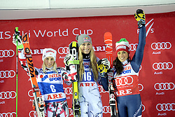 12.12.2015, Olympia course, Are, SWE, FIS Weltcup Ski Alpin, Are, Damen, Riesenslalom, Podium, im Bild Eva-Maria Brem (AUT), Lindsey Vonn (USA), Federica Brignone (ITA) // Eva-Maria Brem of Austria, Lindsey Vonn of the USA, Federica Brignone of Italy during winnerpresentation of ladies giant Slalom of Are FIS Ski Alpine World Cup at the Olympia course in Are, Sweden on 2015/12/12. EXPA Pictures © 2015, PhotoCredit: EXPA/ Nisse Schmidt<br /> <br /> *****ATTENTION - OUT of SWE*****