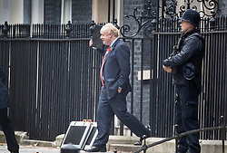 © Licensed to London News Pictures. 29/10/2019. London, UK. Prime Minister Boris Johnson leaves Downing Street for Parliament. The government are expected to win a vote on a general election in Parliament later today, as Labour have announced their support for a pre-Christmas ballot. Photo credit: Peter Macdiarmid/LNP