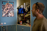 An 'Ironman' poster sits taped to the wall of a smokejumper's locker at the McCall smokejumper base in McCall, ID.