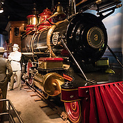 The steam locomotive Jupiter on display at the Smithsonian National Museum of American History in Washington DC. The Jupiter was made in Philadelphia in 1876. It was built for narrow-gauge track and was made obsolete in 1883 when the line switched to standard gauge. it was then sold to Guatemala, where it hauled bananas for more than 60 years. In 1976, it came to the Smithsonian as part of the United States bicentennial exhibit.