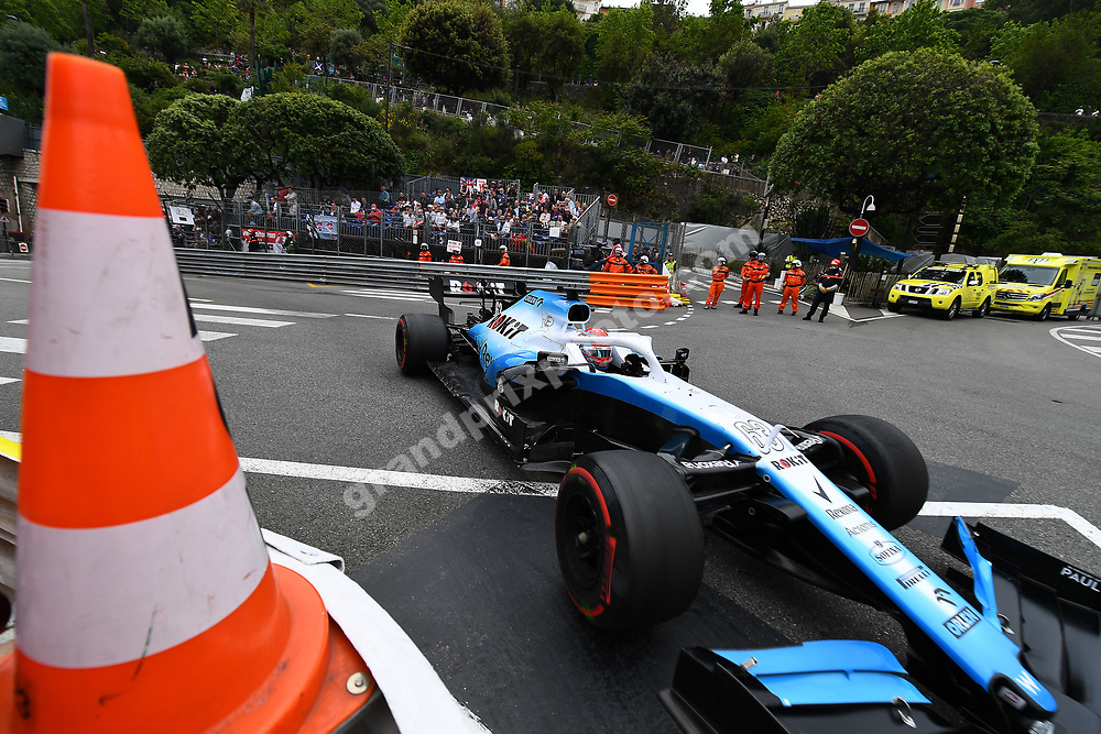 George Russell (Williams-Mercedes) and cone during practice before the 2019 Monaco Grand Prix. Photo: Grand Prix Photo