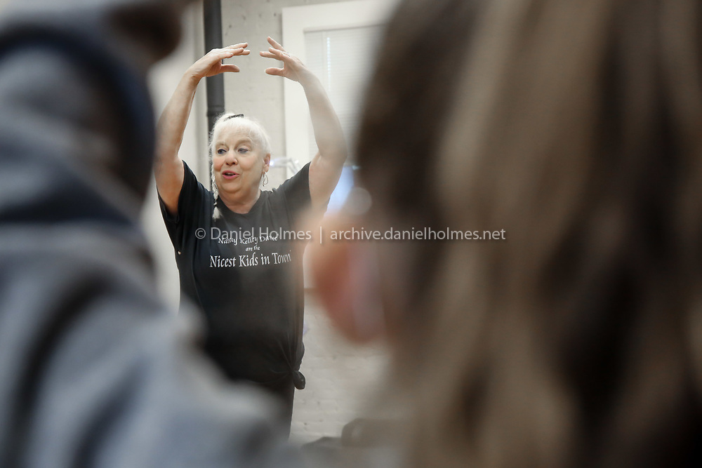 (10/21/19, NATICK, MA) Nancy Kelley teaches dance class at Nancy Kelley Dance Studio in Natick on Monday. The business reopened almost three months to the day after a fire destroyed the business along with seven others in downtown Natick. [Daily News and Wicked Local Photo/Dan Holmes]