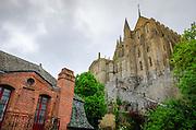 Brick house under the monastery, Mont Saint-Michel, Normandy, France