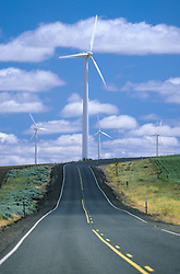 United States, Eastern Oregon,  wind turbines at end of road