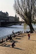 France. Paris. 4th district. garden on the Quai of the Hotel de Ville. / Plage urbaine sur les quais de Seine