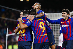 January 30, 2019 - Barcelona, Spain - FC Barcelona forward Lionel Messi (10), FC Barcelona forward Luis Suarez (9), FC Barcelona midfielder Arturo Vidal (22) celebrates the goal during the match FC Barcelona v Sevilla CF, for the round of 8, second leg of the Copa del Rey played at Camp Nou  on 30th January 2019 in Barcelona, Spain. (Credit Image: © Mikel Trigueros/NurPhoto via ZUMA Press)