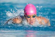 Sophomore Kelley Trung races during the swim meet against Newark Memorial at Milpitas High School in Milpitas, California, on February 27, 2015. (Stan Olszewski/SOSKIphoto)