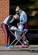 Caversham  Great Britain.<br /> Left Jessica EDDIE and Poll SWANN, check their Oars/Blades.<br /> 2016 GBR Rowing Team Olympic Trials GBR Rowing Training Centre, Nr Reading  England.<br /> <br /> Tuesday  22/03/2016 <br /> <br /> [Mandatory Credit; Peter Spurrier/Intersport-images]