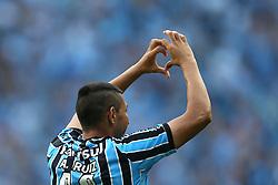 Alan Ruiz comemora seu gol na partida econtra o Internacional válida pelo GRENAL 403 na Arena do Gremio, em Porto Alegre. FOTO: Jefferson Bernardes/ Agência Preview