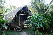 Ecuador, May 8 2010: One of the accommodation units at Huaorani EcoLodge. Copyright 2010 Peter Horrell
