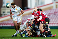 Willi Heinz of Gloucester Rugby gets the ball away during the Gallagher Premiership Rugby match between Gloucester Rugby and Exeter Chiefs at the Kingsholm Stadium, Gloucester, United Kingdom on 26 March 2021.