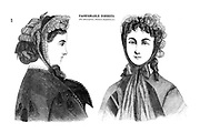 Fashionable Bonnets 1864 from Godey's Lady's Book and Magazine, December, 1864, Volume LXIX, (Volume 69), Philadelphia, Louis A. Godey, Sarah Josepha Hale,