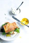 Grilled Salmon Sandwich on Baguette
