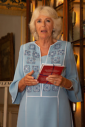 Her Royal Highness Camilla the Duchess of Cornwall hosts a reception at Clarence House to mark the tenth anniversary of First story, an initiative to encourage writing in especially among those from deprived backgrounds in schools across the country PICTURED: Her Royal Highness Camilla, Duchess of Cornwall addresses the gathering . London, July 10 2018.