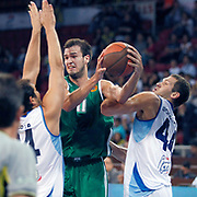 Panathinaikos's Patrick CALATHES (C) during their Two Nations Cup basketball match Fenerbahce Ulker between Panathinaikos at Abdi Ipekci Arena in Istanbul Turkey on Sunday 02 October 2011. Photo by TURKPIX