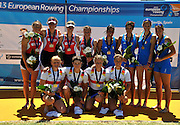 Seville. Andalusia. SPAIN. Women's Quadruple Sculls, front Row Gold Medalist, GER W4X, Annakatrin THIELE, Carina BAER, Julia RICHTER and Britta OPPLET,   back row left silver Medalist, NED W4X and Right Bronze Medalist ITA W4X. Awards dock, 2013 FISA European Rowing Championship.  Guadalquivir River.  Sunday   02/06/2013  [Mandatory Credit. Peter Spurrier/Intersport]