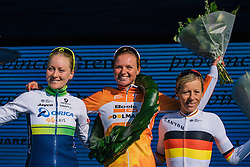 The top three: Chantal Blaak, Gracie Elvin and Trixi Worrack- Ronde van Drenthe 2016, a 138km road race starting and finishing in Hoogeveen, on March 12, 2016 in Drenthe, Netherlands.