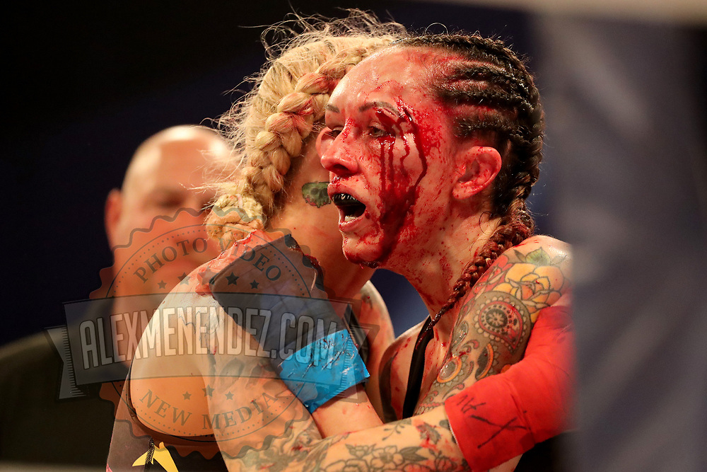 TAMPA, FL - FEBRUARY 05: Charisa Sigala (R) bleeds as she fights against Taylor Starling during the BKFC KnuckleMania event at RP Funding Center on February 5, 2021 in Tampa, Florida. (Photo by Alex Menendez/Getty Images) *** Local Caption *** Charisa Sigala; Taylor Starling