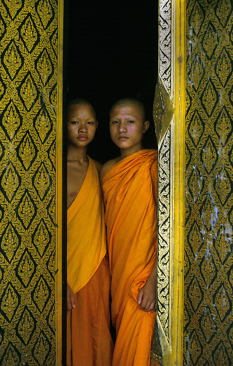 Novice monks at their resident temple, Sukhothai, Thailand 1988