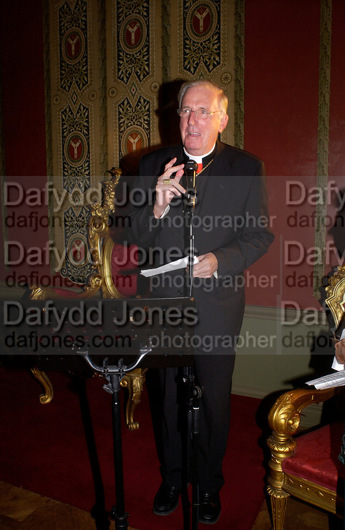 the Archbishop of Westmister Cardinal Cormac Murphy-O'Connor,  Book launch for ' Miles: a Portrait of the 17th Duke of Norfolk'. By Gerard Noel. the Throne Room, Archbishops House. Ambrosden Avenue. London SW1. ONE TIME USE ONLY - DO NOT ARCHIVE  © Copyright Photograph by Dafydd Jones 66 Stockwell Park Rd. London SW9 0DA Tel 020 7733 0108 www.dafjones.com