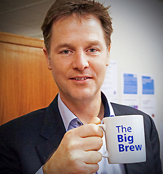 "© Licensed to London News Pictures . 19/01/2015 . Liverpool , UK . Deputy Prime Minister Nick Clegg . Celebrities pose with "" Big Brew "" mugs in support of mental health awareness as today (19th January 2015) marks "" Blue Monday "" , the day regarded by many as the most depressing in the year . Campaigners are urging the public to show support by tweeting sefies with their favourite brew and the hashtag "" #brewfie "" . In London , Deputy Prime Minister Nick Clegg , is announcing his campaign to improve mental health awareness , reduce stigma and promote a "" zero ambition "" target for suicide . Photo credit : Joel Goodman/LNP"