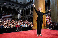 U.S. Sen. Hillary Rodham Clinton (D-NY) addresses supporters at the National Building Museum, on June 7, 2008 in Washington, DC, USA. Clinton endorsed Democratic presidential hopeful Sen. Barack Obama (D-IL) and thanked her supporters for standing behind her in one of the longest Democratic primary seasons in history. Photo by Olivier Douliery/ABACAPRESS.COM
