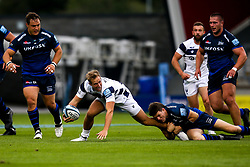 Max Malins of Bristol Bears is tackled by AJ MacGinty of Sale Sharks - Mandatory by-line: Robbie Stephenson/JMP - 29/08/2020 - RUGBY - AJ Bell Stadium - Manchester, England - Sale Sharks v Bristol Bears - Gallagher Premiership Rugby