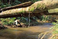 Guardia Nacional recogiendo agua de un rio en la selva, Cerro Delgado Chalbaud, Amazonas, Venezuela.