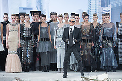 German Designer Karl Lagerfeld makes an appareance and the end of Chanel Haute Couture Autumn-Winter 2013-2014 fashion show, held at the Grand Palais, in Paris, France, on July 2, 2013. Photo by Christophe Guibbaud/ABACAPRESS.COM