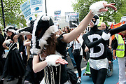 Protest against the proposed cull of badgers June 1st 2013, led by a flashmob of dancers dressed with badger heads and black and white costumes.