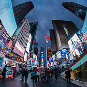 A general view of Times Square in New York City on Sunday, September 27, 2015. This image was captured with an 8mm fisheye lens.  (Alex Menendez via AP)