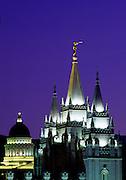 Image of the Salt Lake Temple and Utah State Capitol in Salt Lake City, Utah, American Southwest by Randy Wells