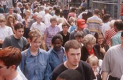 Crowded street scene in Nottingham,