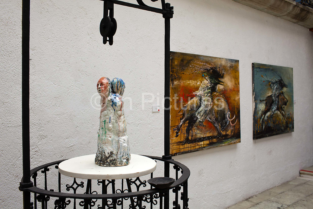 Contemporary art in a gallery in Oaxaca, a city that is known throughout Mexico and internationally for its cultural and artistic heritage and is still home to many important contemporary artists and performers.