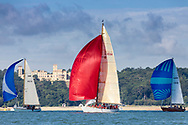 The sun catches David Murrin's Cetewayo in Osborne Bay while competing in Cowes during the Panerai British Classic Sailing Week regatta.<br /> Picture date: Monday July 10, 2017.<br /> Photograph by Christopher Ison ©<br /> 07544044177<br /> chris@christopherison.com<br /> www.christopherison.com