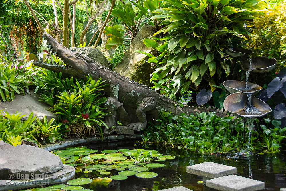 Crocodile sculpture in the gardens of the Hotel Bougainvillea, Santo Domingo de Heredia, Costa Rica