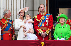 © Licensed to London News Pictures. 11/06/2016. London, UK. PRINCE CHARLES, CATHERINE, DUCHESS OF CAMBRIDGE, PRINCESS CHARLOTTE, PRINCE GEORGE,  PRINCE WILLAM  and QUEEN ELIZABETH II on the balcony of Buckingham Palace, during the Trooping The Colour ceremony in London. This years event is part of a weekend of celebration to mark the 90th birthday of Queen Elizabeth II, who is Britain's longest reigning monarch. Photo credit: Ben Cawthra/LNP