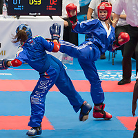 Gold medalist Elena Pantaleo (R) of Italy and silver medalist Andjela Stanic (L) of Croatia fight in the 1PF 057 S F -65 kg final at the WAKO (World Association of Kickboxing Organizations) World Kick-boxing Championships in Budapest, Hungary on Nov. 10, 2017. ATTILA VOLGYI
