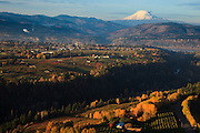 USA, Oregon, aerial landscape of Hood River and Mt. Adams from near the end of the runway.
