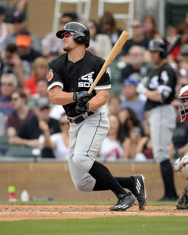 SCOTTSDALE, ARIZONA - MARCH 05:  Adam Engel #63 of the Chicago White Sox bats during the spring training game against the Arizona Diamondbacks on March 5, 2017 at Salt River Fields at Talking Stick in Scottsdale, Arizona.  (Photo by Ron Vesely)   Subject:  Adam Engel