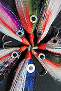 Colorful streamer flies for offshore fishing.
