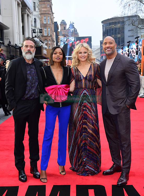 Jeffrey Dean Morgan, Naomie Harris, Malin Akerman and Dwayne Johnson attending the European premiere of Rampage, held at the Cineworld in Leicester Square, London. Picture date: Wednesday April 11, 2018. See PA story SHOWBIZ Rampage. Photo credit should read: Ian West/PA Wire