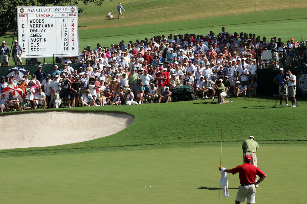 11 August 2007: Tiger Woods putts for birdie on the 12th green during the third round of the 89th PGA Championship at Southern Hills Country Club in Tulsa, OK.