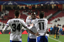 December 5, 2017 - Lisbon, Lisbon, Portugal - Fc Basel forward Dimitri Oberlin from Switzerland (C) celebrating with Fc Basel midfielder Taulant Xhaka from Albania (L) and Fc Basel forward Renato Steffen from Switzerland (R) after scoring a goal during the match between SL Benfica v FC Basel UEFA Champions League playoff match at Luz Stadium on December 5, 2017 in Lisbon, Portugal. (Credit Image: © Dpi/NurPhoto via ZUMA Press)
