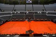 Foto Fabrizio Corradetti - LaPresse<br /> 14/05/2021 Roma ( Italia)<br /> Sport Tennis<br /> Quarti fi finale<br /> Novak Djokovic (SRB) vs Stefanos Tsitsipas (GRE)<br /> Internazionali BNL d\'Italia 2021<br /> Nella foto: incontro spspeso per pioggia<br /> <br /> Photo Fabrizio Corradetti - LaPresse<br /> 14/05/2021 Roma (Italy)<br /> Sport Tennis<br /> Quarter final<br /> Novak Djokovic (SRB) vs Stefanos Tsitsipas (GRE)<br /> Internazionali BNL d\'Italia 2021<br /> In the pic: match suspended for rain