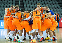 05-09-2015 CRO: FIBA Europe Eurobasket 2015 Georgie - Nederland, Zagreb<br /> Players of Netherlands celebrate after winning during basketball match between Georgia and Netherlands at Day 1 in Group C of FIBA Europe Eurobasket 2015, on September 5, 2015, in Arena Zagreb, Croatia. Photo by Vid Ponikvar / RHF