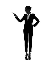 one  business woman holding pen pointing showing in silhouette on white background